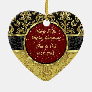 Svart- & för guld 50th bröllopsdagprydnad hjärtformad julgransprydnad i keramik