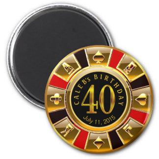 Svart för guld för födelsedag | för Vegas Magnet Rund 5.7 Cm