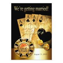 Svart för guld för Las Vegas Deluxe bröllop | 12,7 X 17,8 Cm Inbjudningskort