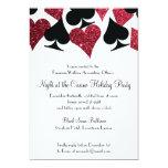 Svart för Las Vegas kasinoparty och rött glitter 12,7 X 17,8 Cm Inbjudningskort