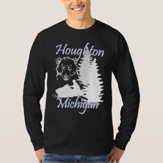 Svart för LS för Houghton Michigan Snowmobilebjörn Tee Shirt