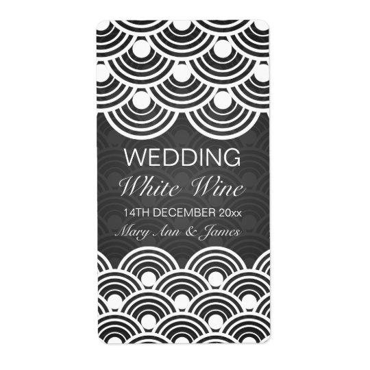 Svart för mönster för elegant bröllopvin etikett fraktsedel