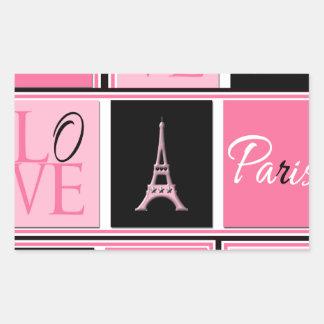 Svart för rosor för Paris Eiffel tornkärlek Rektangulärt Klistermärke