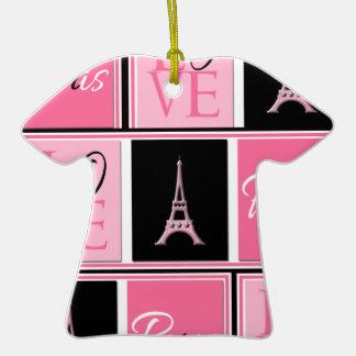 Svart för rosor för Paris Eiffel tornkärlek T-Shirt Formad Julgransprydnad I Keramik
