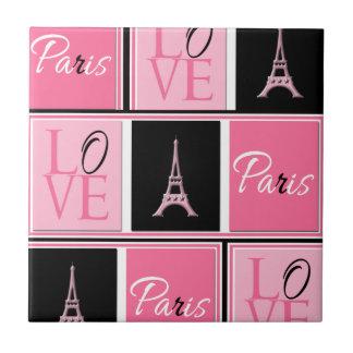 Svart för rosor för Paris Eiffel tornkärlek Liten Kakelplatta