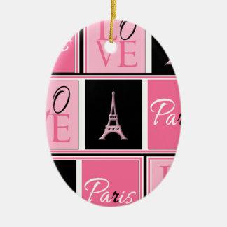 Svart för rosor för Paris Eiffel tornkärlek Ovalformad Julgransprydnad I Keramik
