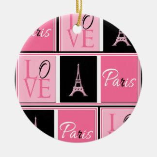 Svart för rosor för Paris Eiffel tornkärlek Rund Julgransprydnad I Keramik