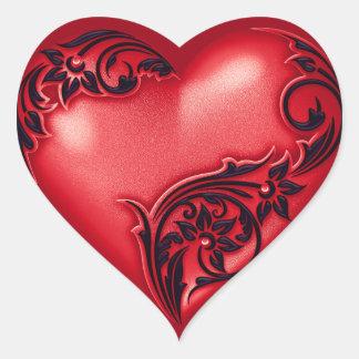 Svart för w för hjärtarulla röd hjärtformat klistermärke