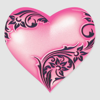 Svart för w för shock rosa för hjärtarulla ljus hjärtformat klistermärke