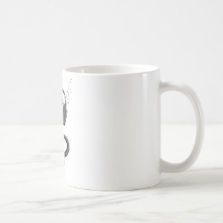 Svart gclef med hörlurar med mikrofon kaffemugg