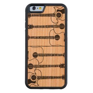 svart gitarrer på trä carved körsbär iPhone 6 bumper skal