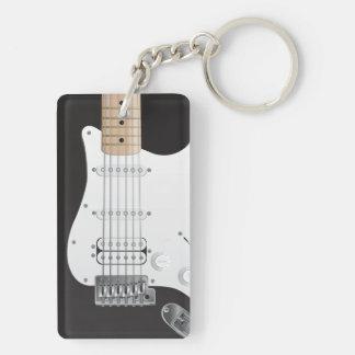 Svart gitarrrektangel tvåsidiga Keychain