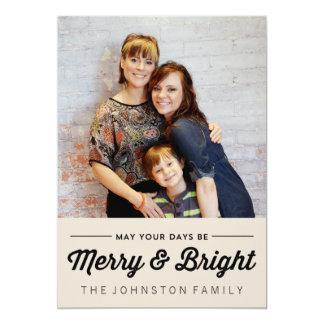 Svart glada & ljusa kort för julfotolägenhet 12,7 x 17,8 cm inbjudningskort