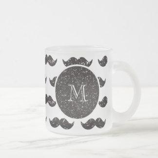 Svart glittermustaschmönster din Monogram Kaffe Muggar