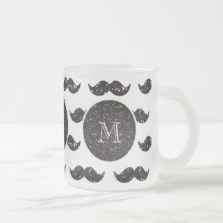 Svart glittermustaschmönster din Monogram Kaffe Koppar