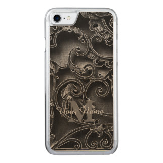 Svart gotisk mönstermonogram carved iPhone 7 skal