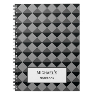 Svart grått modernt moderiktigt anteckningsbok med spiral