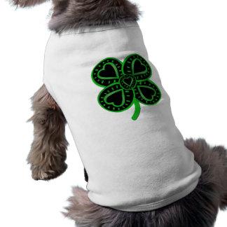 Svart gröna husdjur C för klöverhjärtast patrick's Hundtröja