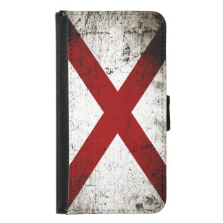 Svart GrungeAlabama statlig flagga Plånboksfodral För Samsung Galaxy S5