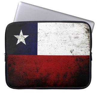 Svart GrungeChile flagga Laptop Sleeve