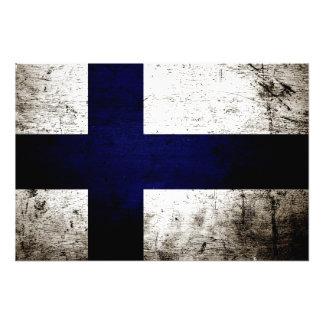 Svart GrungeFinland flagga Fotografier