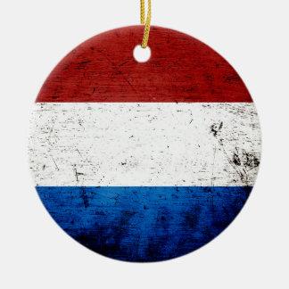 Svart GrungeLuxembourg flagga Rund Julgransprydnad I Keramik