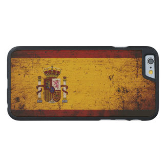 Svart GrungeSpanien flagga Carved® Lönn iPhone 6 Slim Fodral
