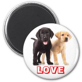 Svart & gul kärlek för hund för valp för Labrador Magnet