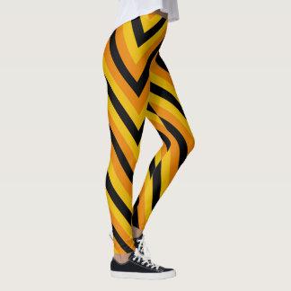 Svart gul orange sicksacksparreHalloween färg Leggings