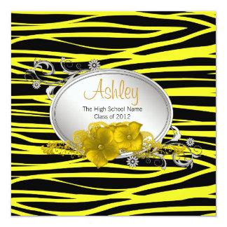 Svart gul sebratillkännagivande för studenten fyrkantigt 13,3 cm inbjudningskort