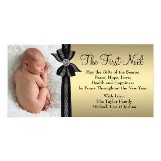 Svart guld- baby första kort för julfoto fotokort mall
