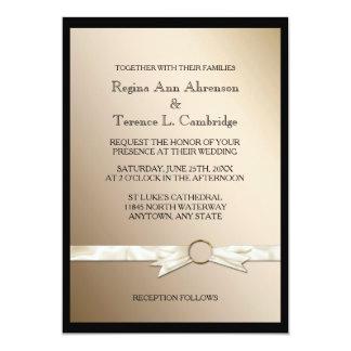 Svart guld- bandbröllop för elegant 12,7 x 17,8 cm inbjudningskort
