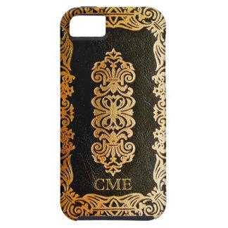 Svart & guld- bokomslag för gammalt läder iPhone 5 fodral