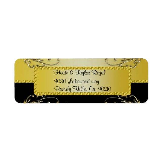Svart & guld- bröllop för blommarVinesMonogram Returadress Etikett