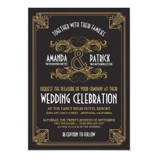 Svart & guld- bröllopinbjudningar för art 12,7 x 17,8 cm inbjudningskort