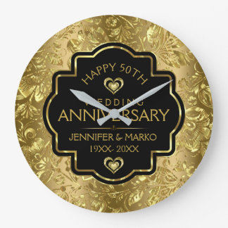 Svart & guld- bröllopsdag för damaster 50th stor klocka