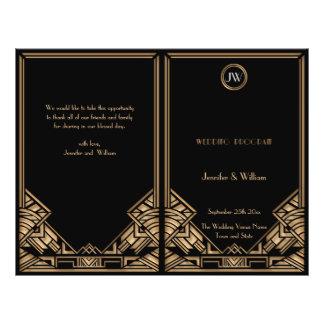 Svart guld- bröllopsprogram för art décoGatsby