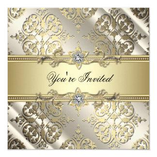 Svart guld- damastast party för elegant fyrkantigt 13,3 cm inbjudningskort