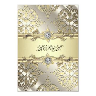 Svart guld- damastast partyOSA 8,9 X 12,7 Cm Inbjudningskort