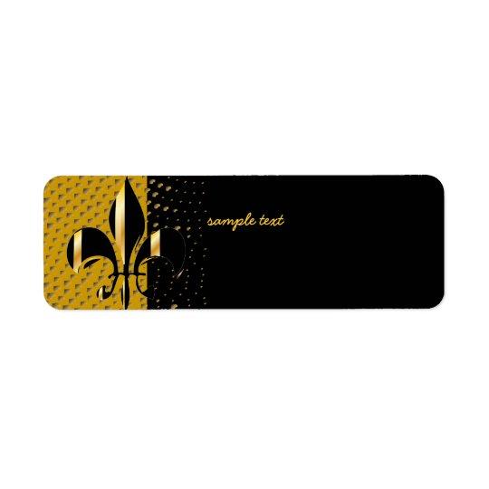 Svart guld- Fleur de lis Returadress Etikett