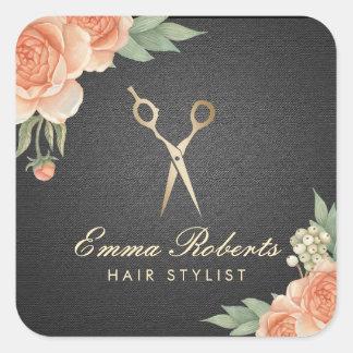 Svart & guld för elegant för hårstylistvintage fyrkantigt klistermärke