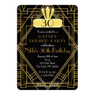 Svart & guld- Gatsby partyinbjudan för art déco 12,7 X 17,8 Cm Inbjudningskort