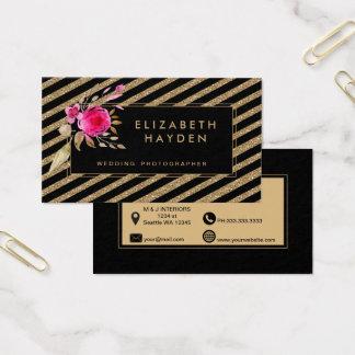svart guld- glitter görar randig den blom- visitkort
