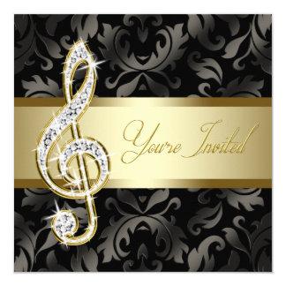 Svart guld- högläsning för musikTrebleklav Fyrkantigt 13,3 Cm Inbjudningskort