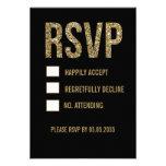 Svart & guld- kort för glittertypografibröllop OSA