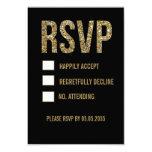 Svart & guld- kort för glittertypografibröllop OSA Inbjudningar