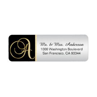 Svart guld- kuvert för silverMonogramreturadress Returadress Etikett