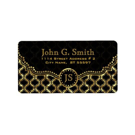 Svart & guld- metalliskt Quatrefoil mönster Adressetikett