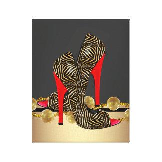 Svart guld och den röda sebrakickhälet skor canvastryck