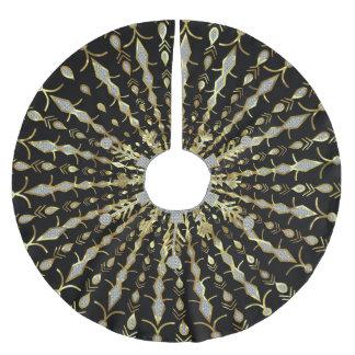 Svart guld- och diamantglitter julgransmatta borstad polyester